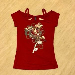 New Ecko Red Printed Red Tee S/M